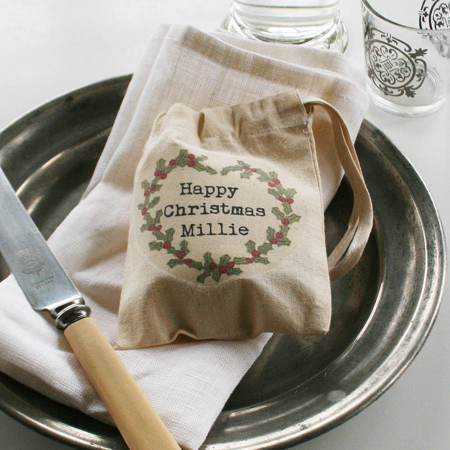 personalised christmas holly mini gift bag by snapdragon ...