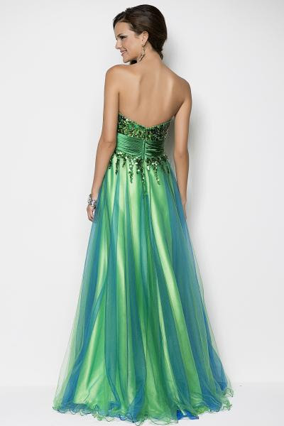 Blue and green evening dress