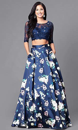 sleeve  piece prom dress  floral print
