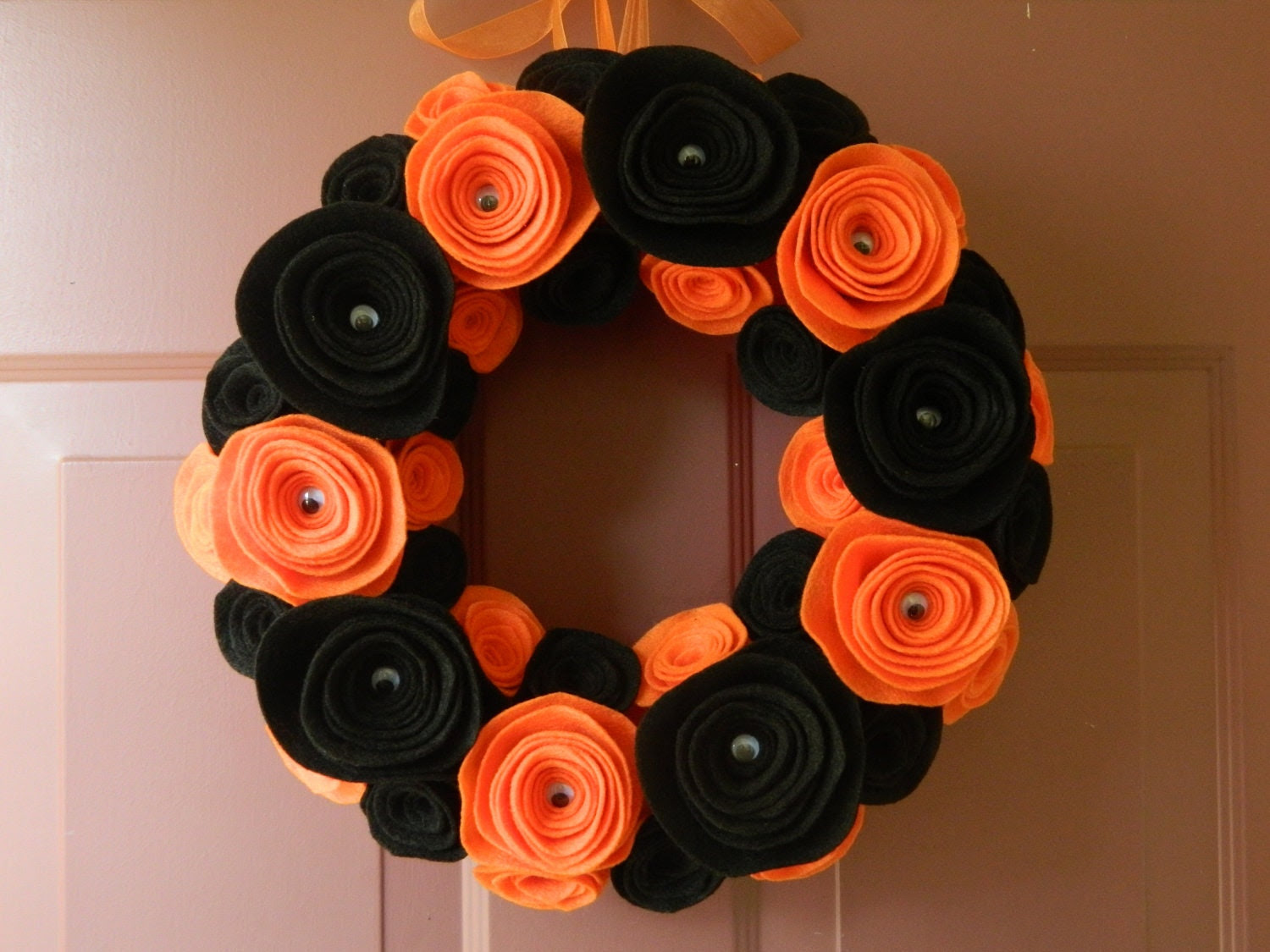Halloween Wreath - Black and Orange Felt Flower Wreath with Google Eye Centers on the Large Flowers - 12 inch