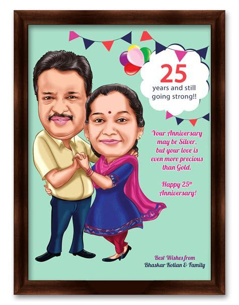 25th wedding anniversary, personalized caricature gift for