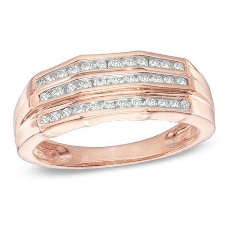 Men's 1 CT. T.W. Diamond Wedding Band in 10K Rose Gold