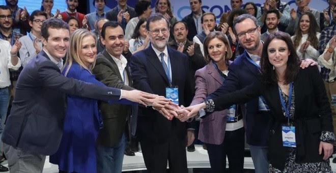 Mariano Rajoy fue reelegido presidente del PP en el XVIII Congreso del partido. EFE 11/02/2017