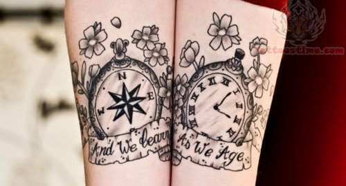 Daisy Flower And Compass Tattoo