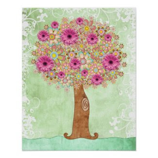Flowers Tree and Green Floral poster - TBA print