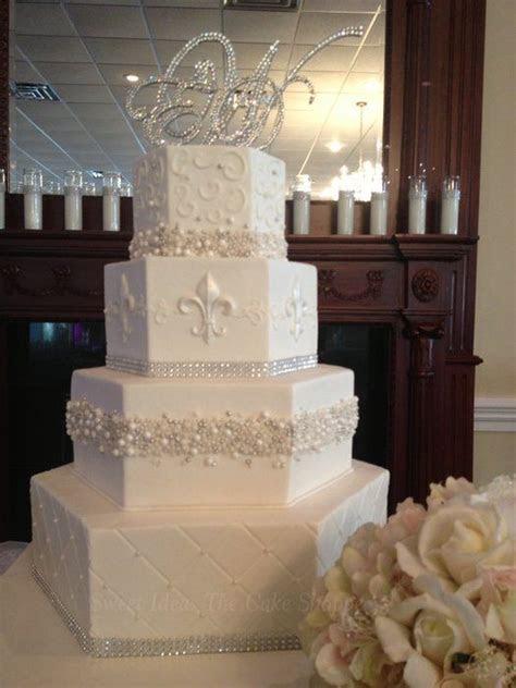 wedding cakes with fleur de lis     Hexagon Bling   by
