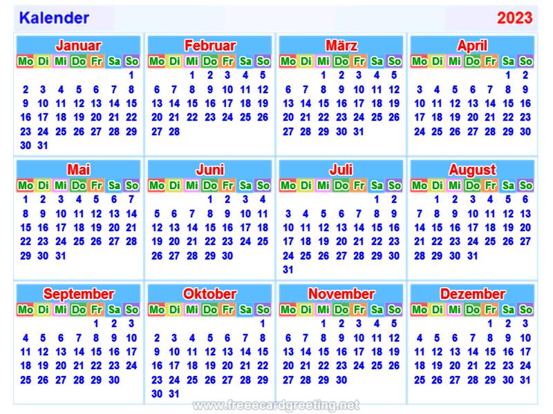calendar 2023_german