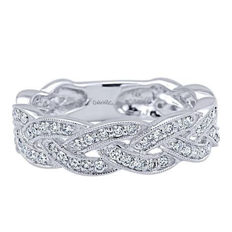Diamond and 14 Karat White Gold Braided Stackable Ring