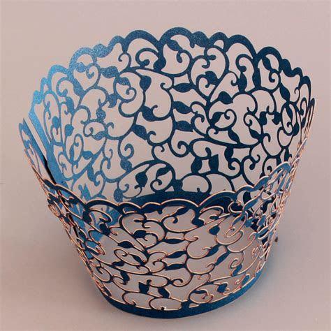 Cupcake Wrapper Metallic Navy Blue (12)