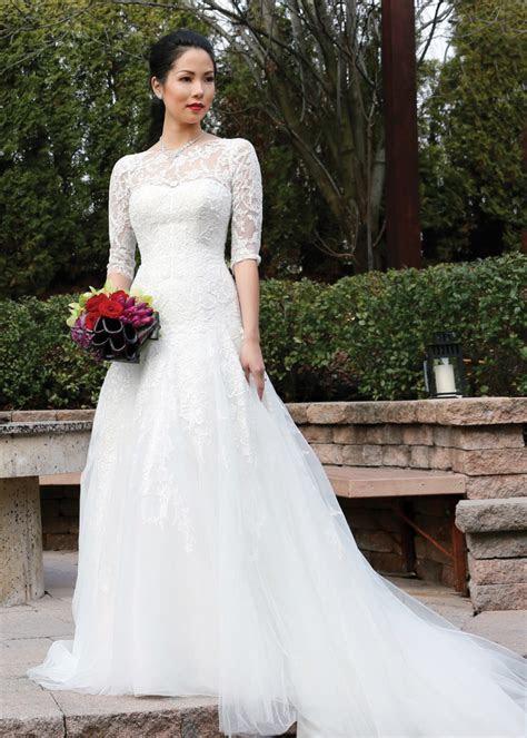 Oleg Cassini 3/4 Sleeve A Line Dropped Waist Wedding Gown