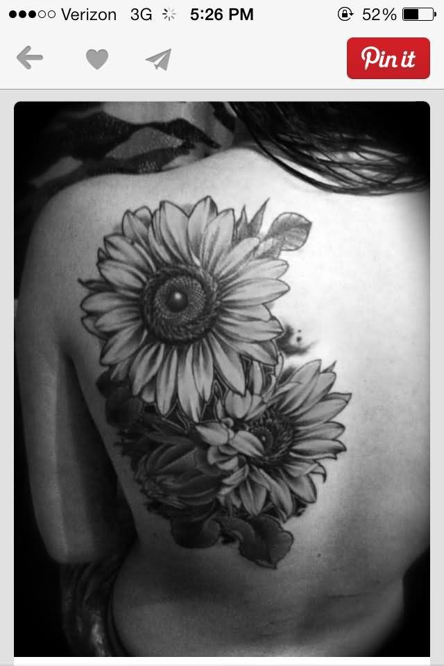 Left Back Shoulder Grey Sunflower Tattoo