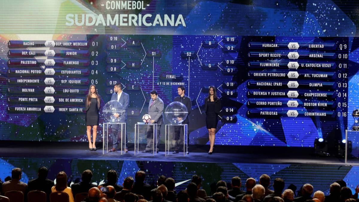Sorteo de la Fase II de la Copa Sudamericana 2017: Fuerza Amarilla vs Santa Fe, Deportivo Cali vs. Junior, Medellín vs. Racing y Patriotas vs. Corinthians
