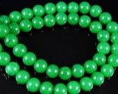 8mm Green Round Jade Beads, half strand