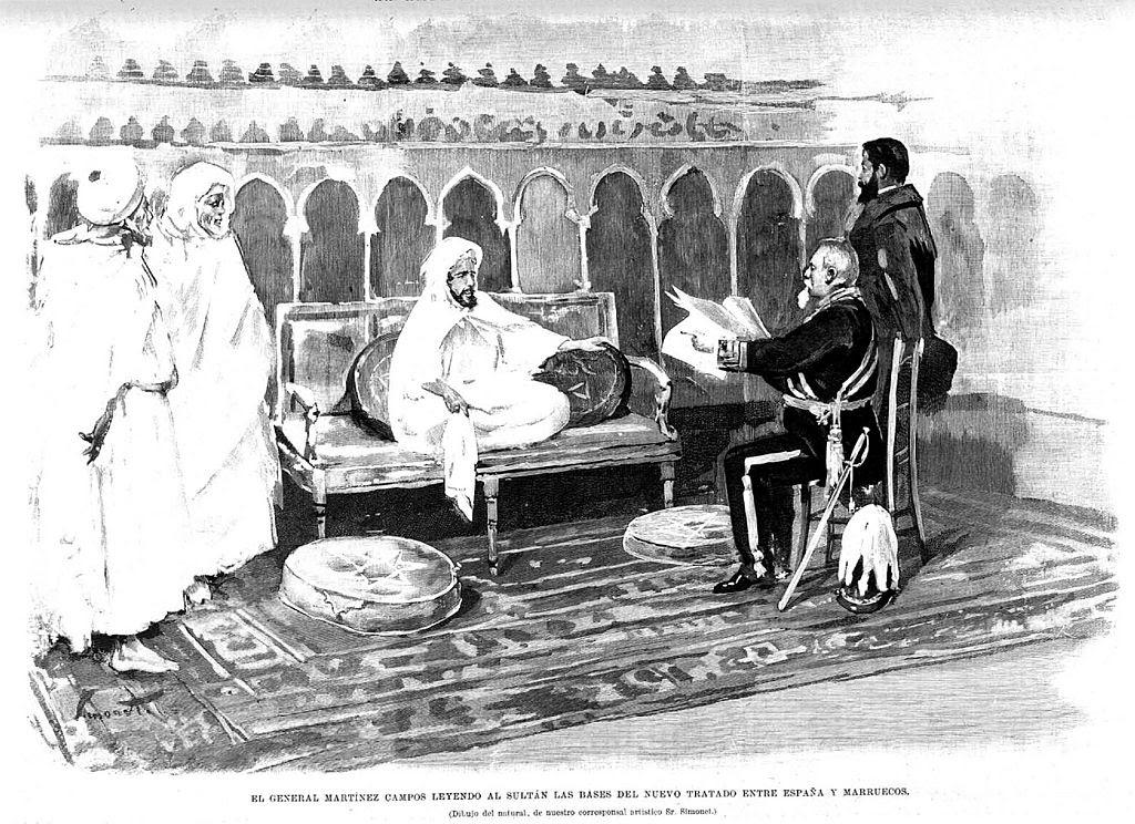 El General Martínez Campos leyendo al sultán las bases del nuevo TRATADO Entre España y Marruecos, de Simonet.jpg