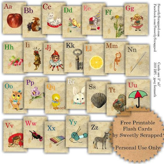 Free printable vintage flash cards - somewhere I saw a cute craft ...
