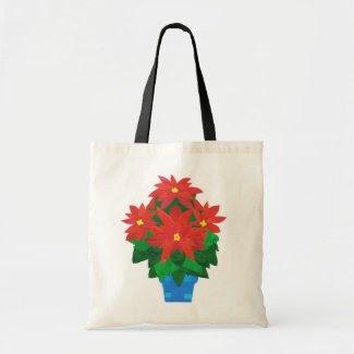 Festive Christmas Tote Bag, Poinsettias zazzle_bag