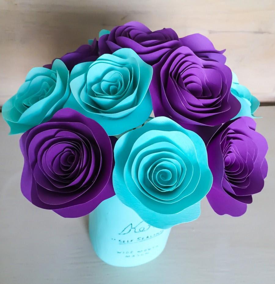 Paper Flowers Stemmed Purple Aqua Aquamarine Centerpieces Wedding Flowers Home Decor Baby Shower Decor Rose With Stems 2507068 Weddbook