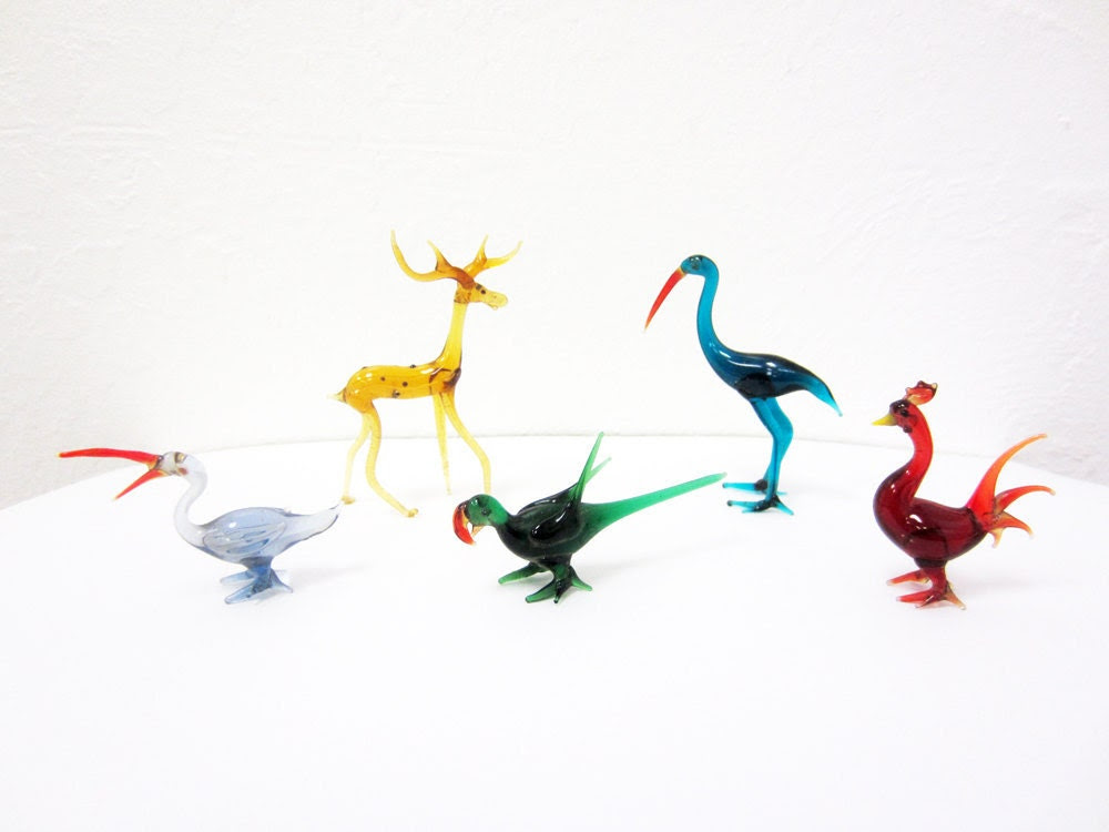 vintage Hand blown Glass Animals collection delicate lines 4 Birds and a Deer Murano style Glass Menagerie