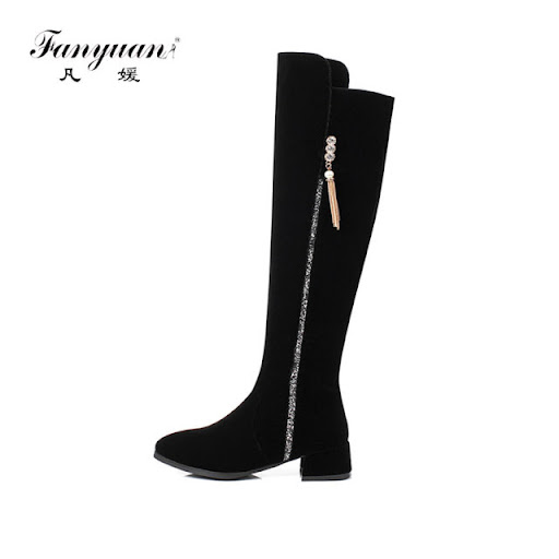 Size 34-46 Women Motorcycle Biker Mid Calf Knee High Knight Flats Casual Boots s