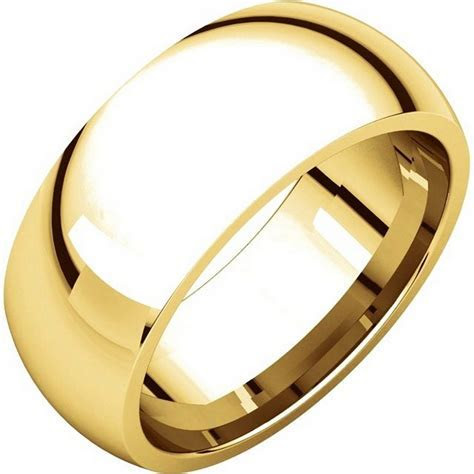 XH123838E 18K Yellow Gold 8mm Comfort Fit Wedding Band