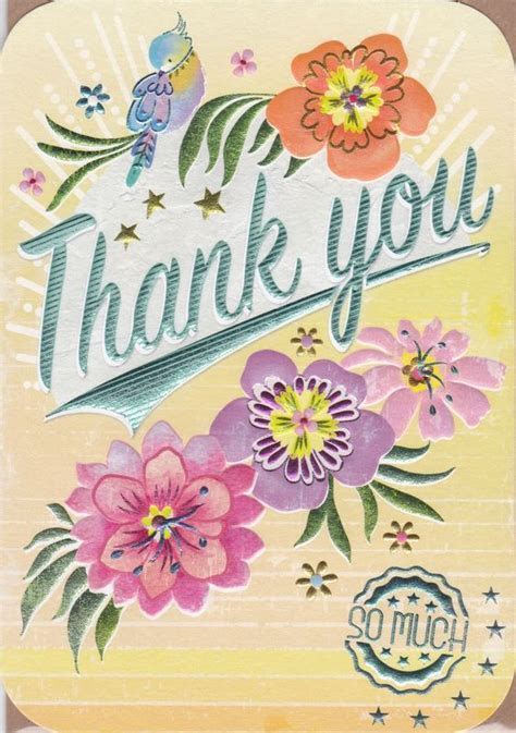 Bird & Flowers Thank You So Much Card   Karenza Paperie
