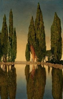 Love the texture of these trees. The Reservoir at Villa Falconieri, Frascati  / Maxfield Parrish / 1903 / oil on canvas