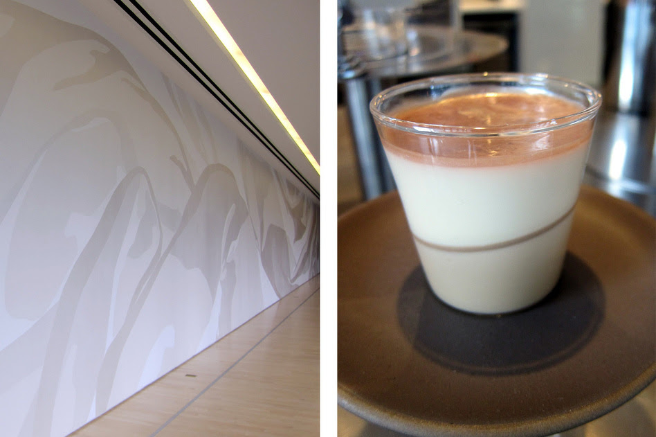 The Rosana Castrillo Diaz Panna Cotta (right), patterned after Diaz's 2009 Untitled installation. The dessert is a maple yogurt and creme fraiche panna cotta with St. Elizabeth allspice dram gelee and luster dust.