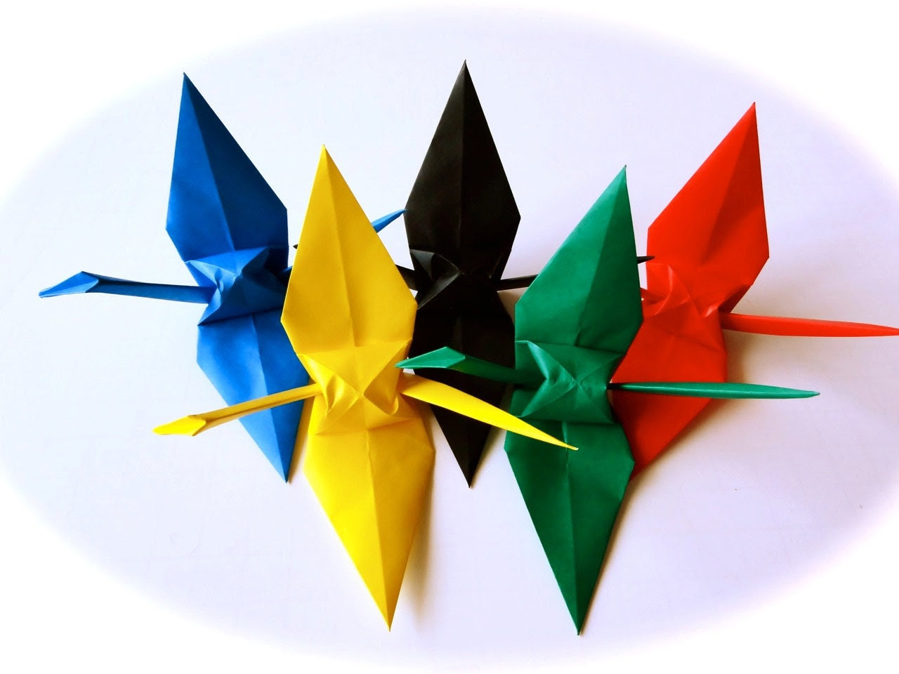 100 Olympic 5 color Origami Cranes  (6 inches size)