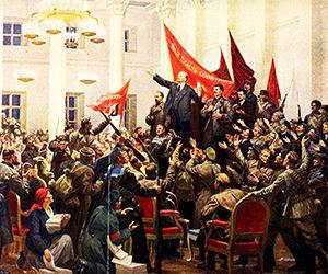 Lenin declara la victoria de la Revolución socialista.