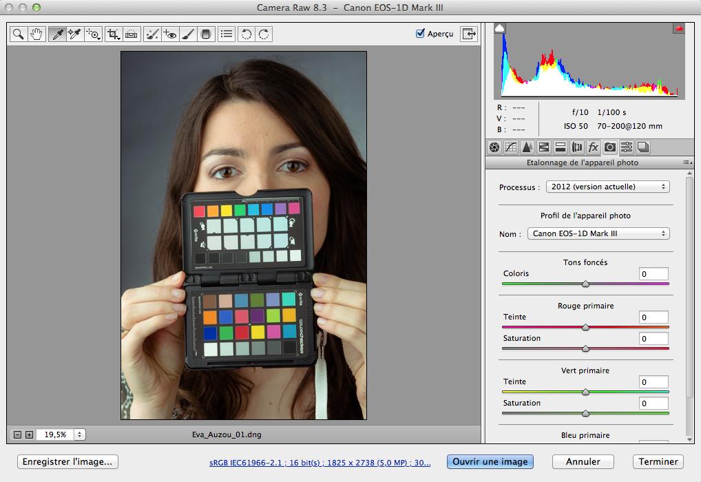 Interface de CameraRAW avec le profil ColorChecker installé…