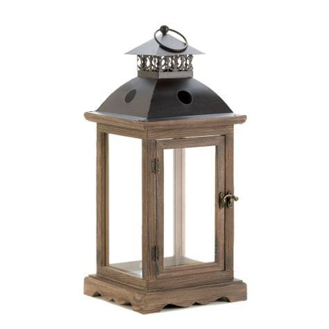 Gallery Of Light Large Rustic Wood Lantern, Candle