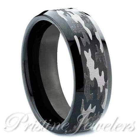 Tungsten Carbide Mens Camouflage Ring Black & Silver Camo