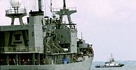 Indonesian ships patrol the Strait of Malacca