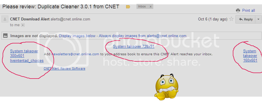 Email message with blocked images, alt text for each is of the form