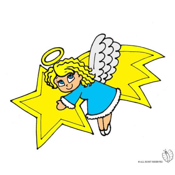 Disegno Di Stella Cometa E Angioletto A Colori Per Bambini