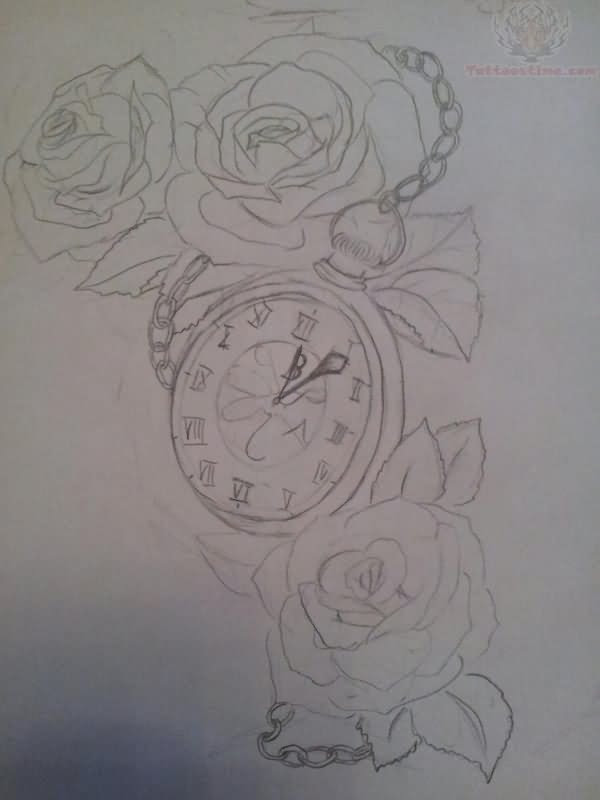 Roses And Clock Tattoo Outline Tattoo Design