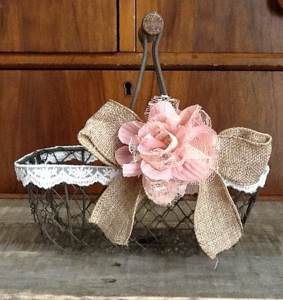 Rustic Flower Girl Basket - Wire Wedding Basket, Burlap Wedding on Etsy, $26.50