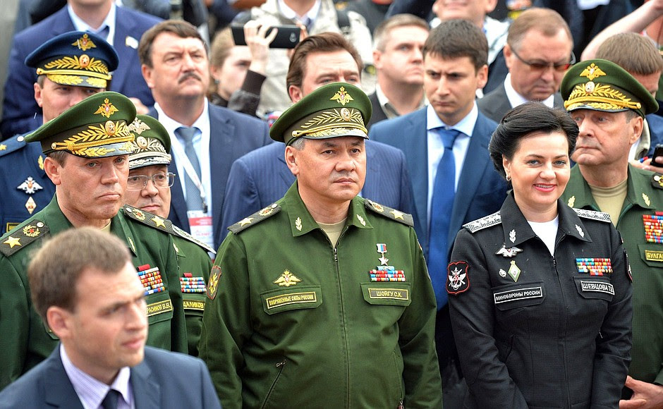 At the opening of the International Military-Technical Forum ARMY-2015. Front row, left to right: Chief of the General Staff of Russia's Armed Forces and First Deputy Defence Minister Valery Gerasimov, Defence Minister Sergei Shoigu, Deputy Defence Minister Tatyana Shevtsova.