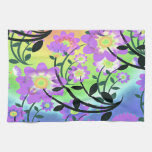 Pretty Abstract Multicolored Flowers Purple Towel