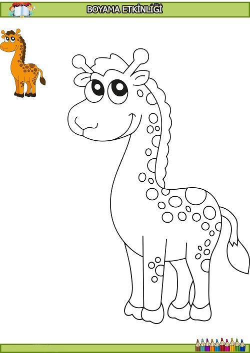 Sevimli Zürafa Boyama Etkinliği Meb Ders