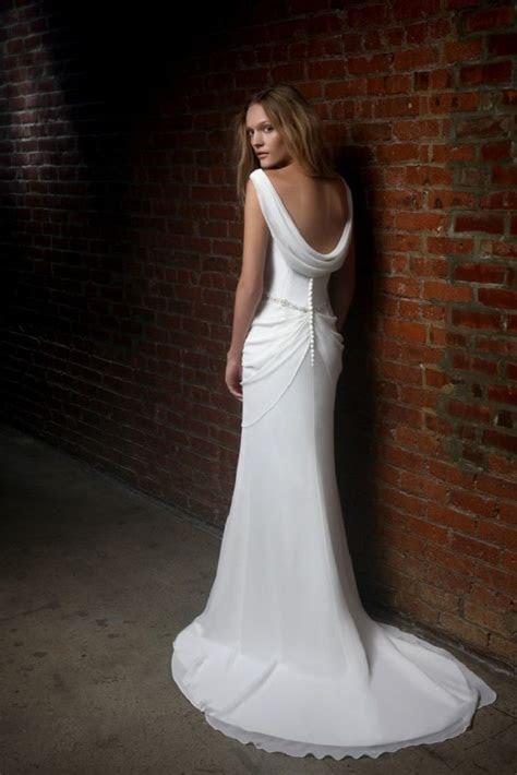 Cowl neck low back wedding dress inspiration   Wedding Dresses