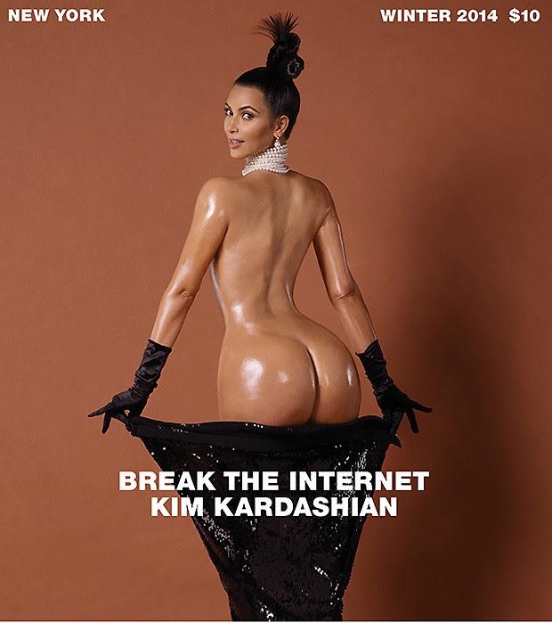 Kim Kardashian mostrou seus atributos em um ensaio super comentado para a Paper Magazine (Foto: reprodução)