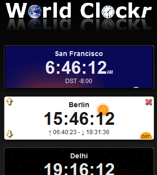WorldClockr screenshot