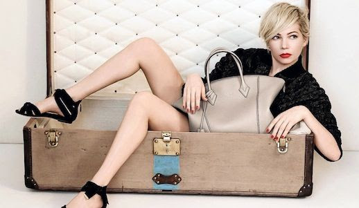 Le Fashion Blog Michelle Williams Louis Vuitton SS 2014 Campaign Short Blonde Hair Haircut Sitting In Luggage Trunk Photographer Peter Lindbergh Beauty Lipstick Red Nails Tan Taupe Leather Tote Bag Ankle Wrap Strap Flat Sandals Fur Coat Jacket 2 photo Le-Fashion-Blog-Michelle-Williams-Louis-Vuitton-SS-2014-Campaign-In-Trunk-2.jpg
