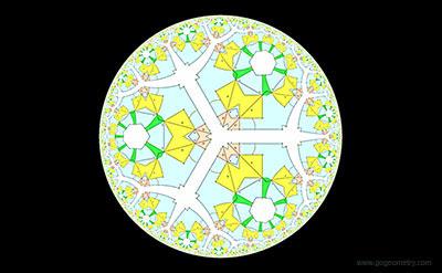 Geometric Art: Hyperbolic Kaleidoscope of Geometry Problem 1338: Four Squares. iPad Apps