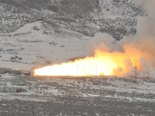 Final test firing of a reusable solid rocket motor Feb. 25 in Promontory, Utah.