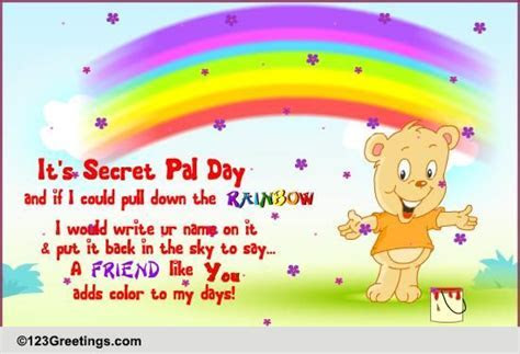 Pull Down The Rainbow  Free Secret Pal Day eCards