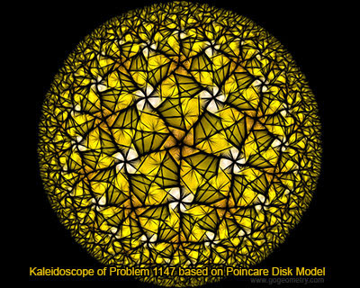 Geometric Art: Kaleidoscope of Geometry Problem 1147 based on Poincare Disk Model, Triangle, Center.