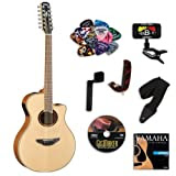 Yamaha APX700II 12-String Acoustic Electric Guitar BUNDLE w/ Legacy Acc Kit (Tuner,Picks,DVD and More)