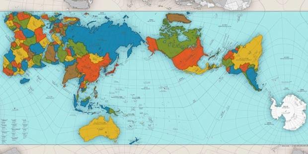 Mapa criado por arquiteto japonês Hajime Narukawa busca refletir com precisão as proporções entre continentes e países (Foto: AutaGraph)
